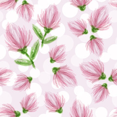 Delicate flowers on a light background. seamless pattern. Textiles, wallpaper, covers, paper. Pink flowers pattern. Drawing. Paints.Vector. Eps10.