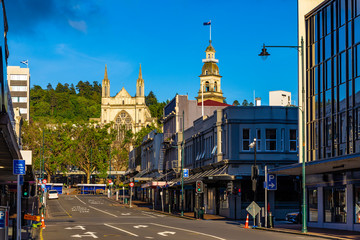 New Zealand, South Island. Dunedin - Stuart Street. There are St. Paul's Cathedral and Dunedin Town Hall in the background