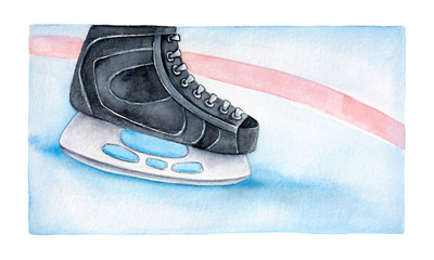 Ice hockey skating shoe on playing rink backdrop. Game moment closeup sketchy illustration. Pale blue, gray, black, pastel red, white colours; grunge style. Hand painted water color graphic drawing.