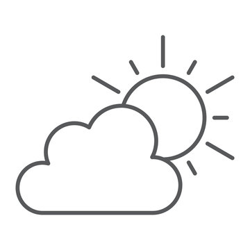 Weather thin line icon, sky and climate, sun and cloud sign, vector graphics, a linear pattern on a white background.