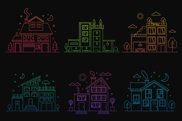 Set of gradient line urban and suburban houses isolated on black background outline vector illustration.