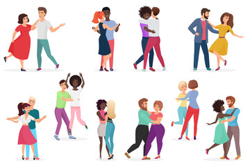 Male and female pairs of dancers. Men and women couple performing dance at school, studio. Group of young happy dancing people. People dance party vector illustration.