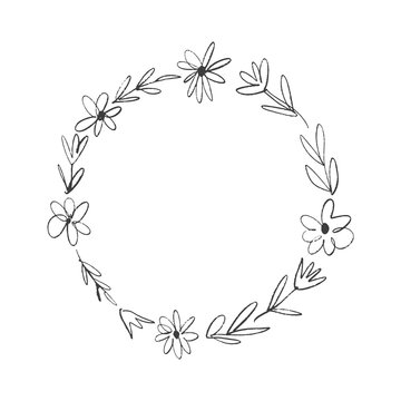Boho floral frame, wreath, text template, circle flowers. Decor element