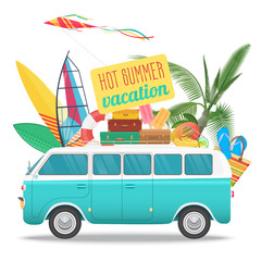 Summer travel vector illustration with vintage bus. Beach concept logo. Summer tourism, travel, trip and surfer.