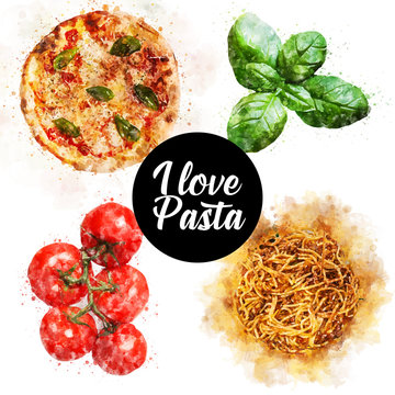 italian pizza with ingredients pasta with tomatoes and basil hand drawn watercolor