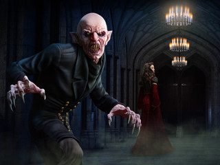 Vampire scene 3D illustration