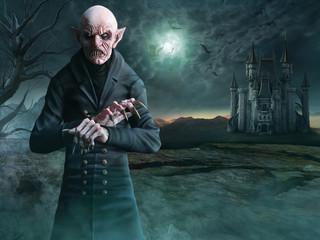 Vampire scene 3D illustration Wall mural