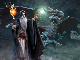 Wall Mural - Wizard and dragon scene 3d illustration