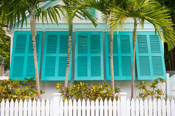 View of charming colorful window shutters framed by tropical palm trees and a white picket fence on a residential street in Key West, Florida, USA