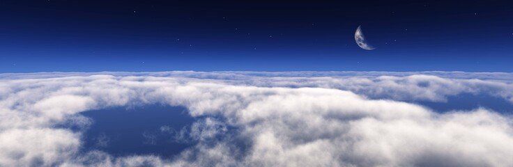 Panorama of clouds, flying above the clouds, the starry sky above the clouds