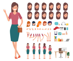 Young woman shopping character creation for animation. Ready for animated face emotion and mouth.