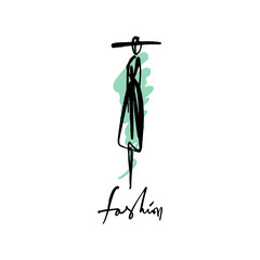 Stylized woman in a hat. Fashion model hand drawn sketch, stylized ink silhouette isolated