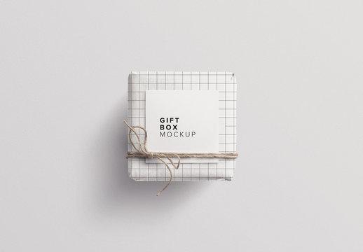 Small Wrapped Gift Box Mockup