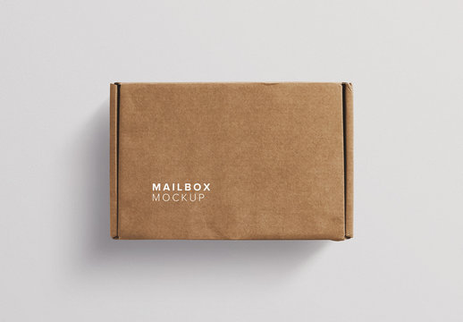 Cardboard Postal Box Mockup