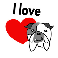 English bulldog with heart and text