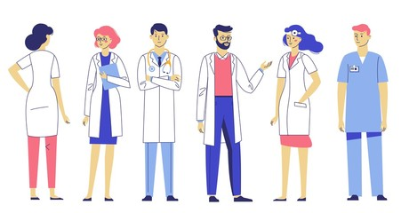Medicine team concept with different doctors in hospital. Practitioner doctors young man and woman standing together and talking. Consultation and diagnosis.