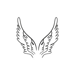Angel, bird or pegasus pink color wings. Vintage element. Fantasy illustration. Temporary tattoo or sticker