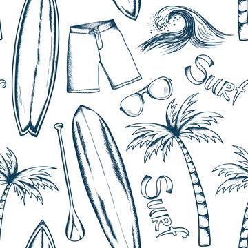 Surfing pattern. Summer doodles. Fabric design. Ocean. Beach rest background. Hand drawn effect. Surf sport. Traveling or vacation design.