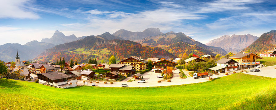 Chamonix village for skiers
