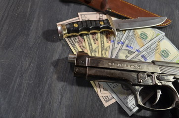 crime money and weapons