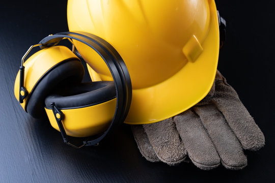 Helmet and accessories for construction workers. Accessories needed for work on the construction site.