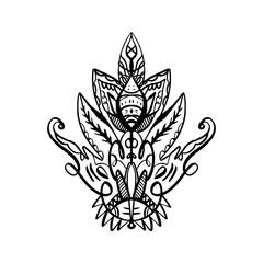 Pattern flash tattoo. Ornate design elements. Fashion ornament. Indian design