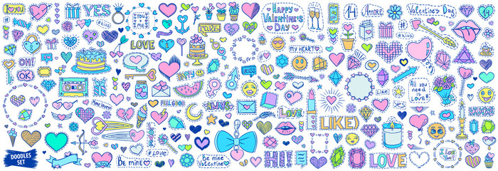 Valentines day bundle. Love doodles set. Hearts sketches. Romantic sketches. Wedding and marriage. Love patch badges. Emoticons. Stickers.