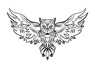 Owl tattoo outline. Boho tribal style. Line ethnic ornaments. Poster, spiritual art, symbol of wisdom. Antistress art