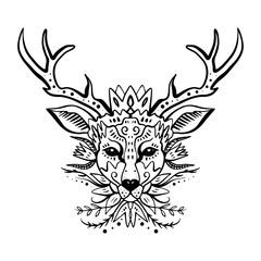 Wild beautiful deer, hand drawn boho stylish portrait with ornament. Tattoo line work