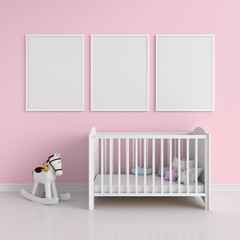 Three blank photo frame for mockup in pink room, 3D rendering