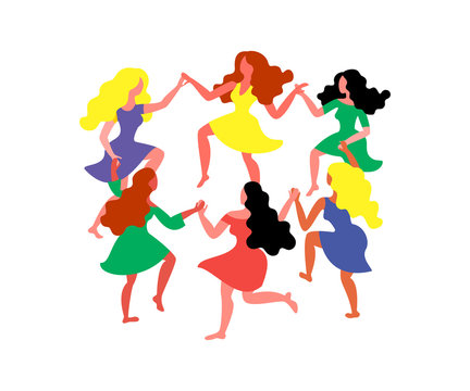 Women's round dance. Women with long hair and dresses hold hands. Vector illustration on March 8th. Card for International Women's Day.