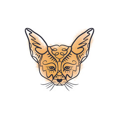 Line illustration of a cute little fenech fox with big ears, tattoo design. Antistress art