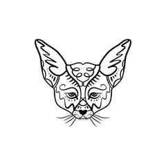 Line illustration of a cute little fenech fox with big ears, tattoo design. Antistress art
