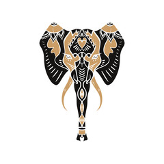 Beautiful handdrawn elephant outline. Boho tribal style