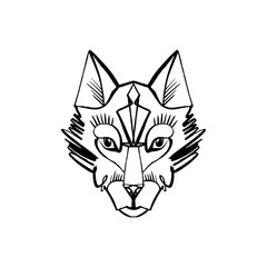 Patterned head of the wolf, animal face on white background. African or indian totem, boho style, flash tattoo design