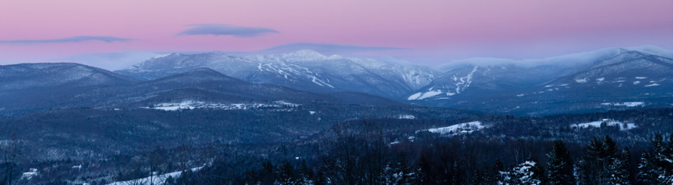 Sunrise panorama of Mt. Mansfield in the winter, Stowe, Vermont, USA