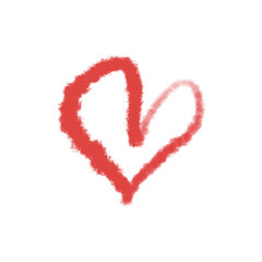 Red heart isolated on white background. Valentine's Day stylish postcard element. Hand drawn painting