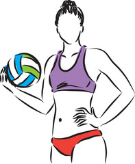 volley beach woman player illustration