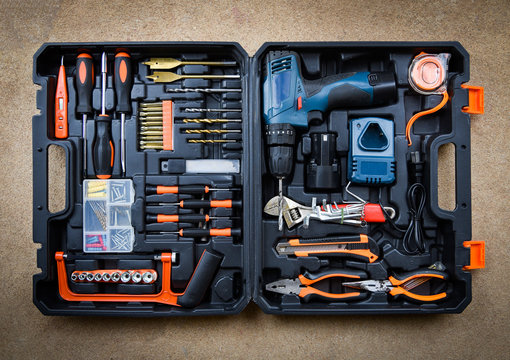 Craftsman tool modern / Collection Set carpentry tools for working wood or craftsmanship