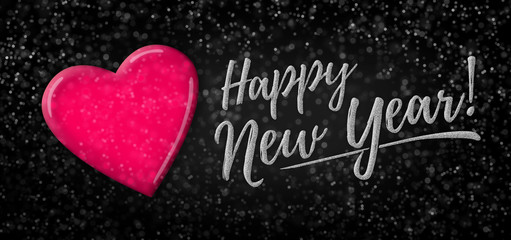 Happy New Year 2020 on sparkling background/panorama