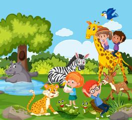 Children playing with wild animal