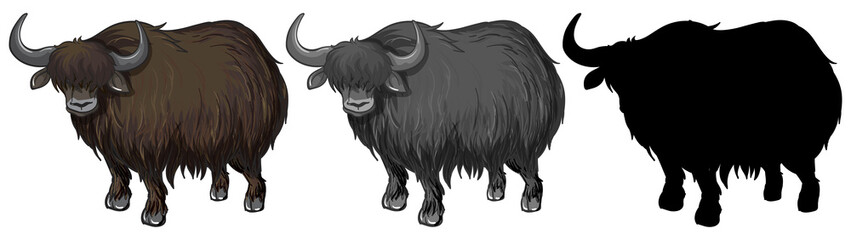 Set of yak character