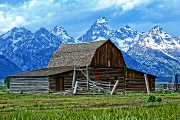 Barn and the Tetons by Skip Weeks