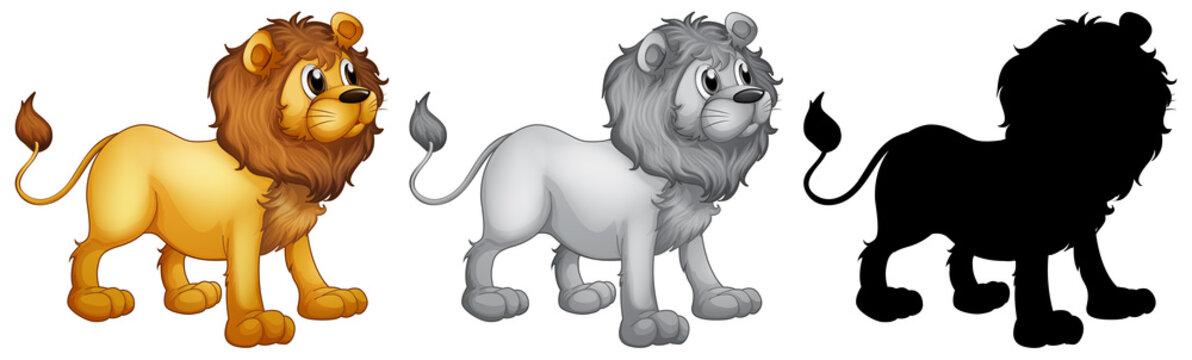 Set of lion character design