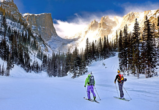 Cross-country skiers in Colorado's Rocky Mountain National Park.