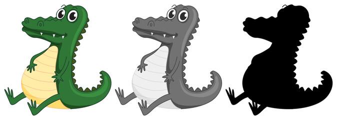 Set of crocodile character