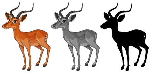Set of gazelle character