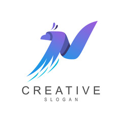 eagle letter n creative logo design