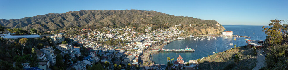 View of Avalon harbor on Catalina Island in the early sunrise light. Wall mural