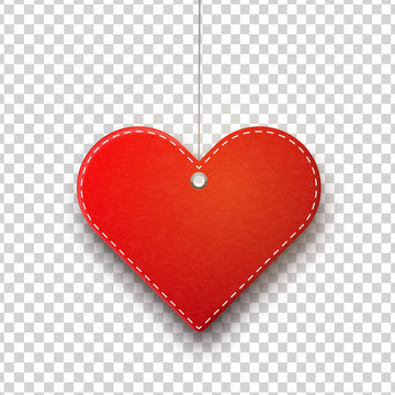 Vector realistic isolated hanging heart price tag for template decoration and covering on the transparent background. Concept of Happy Valentines Day.